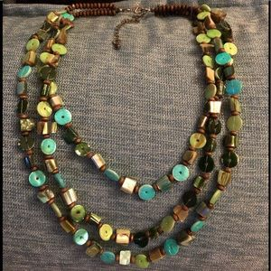 Fun Button and Wooden Beaded Necklace